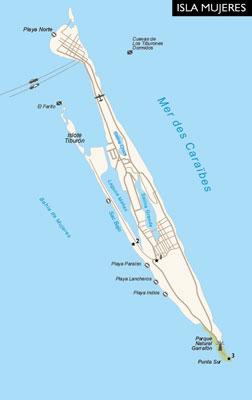 Carte de l'Isla Mujeres